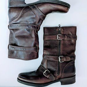 J.Crew Miller Motorcycle Boots Brown Leather Sz 9